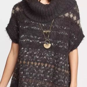 Free People snow bunny grey green tunic poncho
